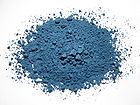 Azurite pigment is a soft, deep blue copper mineral produced by weathering of copper ore deposits.jpg